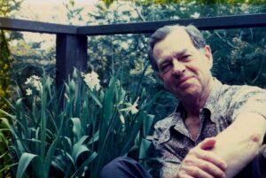 Joseph Campbell in a garden