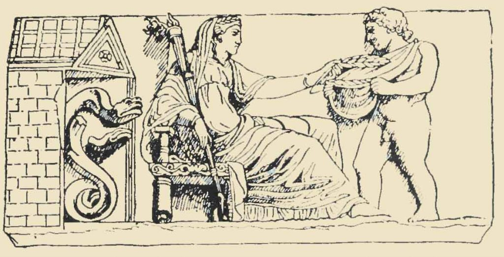Demeter delivering the wheat to Plutus, who receives it in the Cornucopia (stone relief, Classical, Greece, fifth century b.c.)
