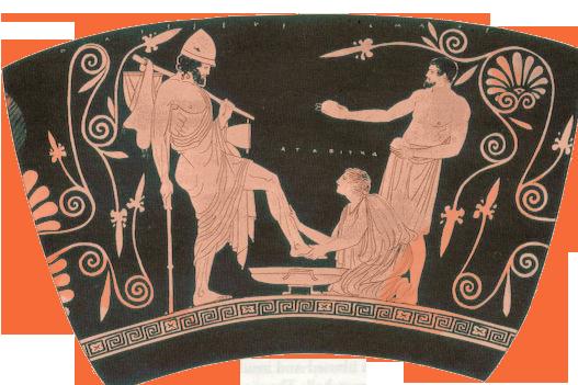 "Eurycleia washing Odysseus' feet (red figure skyphos, Attica Greece, 5th century <span style=""font-variant:small-caps"">b.c.</span>)"