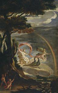 Juno (with peacocks) and Iris (with rainbow) — Alegoría del Aire by Antonio Palomino (oil on canvas, Spain, c. 1700)