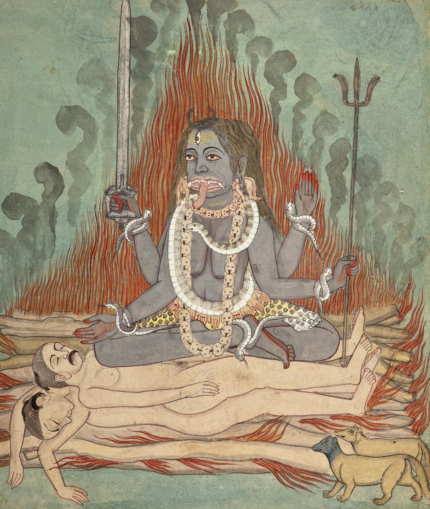 Kālī Astride Śiva and Śava (watercolor, India, c. 1740 a.d. Courtesy Los Angeles County Museum of Art)